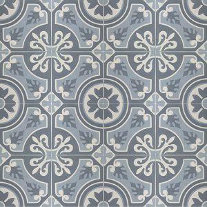 Sammensætning af 4 historiske fliser med Christiana motiv i blå, grå og råhvid