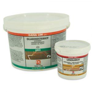 Linoliekit i glarmesterkvalitet. Glarmesterkit i sort, natur og brun