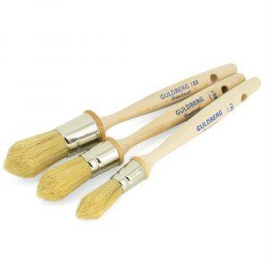 Håndlavet Guldberg Sprossepensler 15-20-25 mm med ulakeret bøgetræskaft og svinehårsbørser