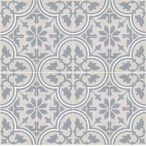 Historisk flise med Italiensk motiv i blå med hvide kanter. På billedet er der sammensat 4 fliser