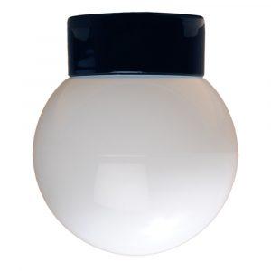 Kuppel lige sokkel IP20 glaskuppel 150 mm sort fod hvidt glas