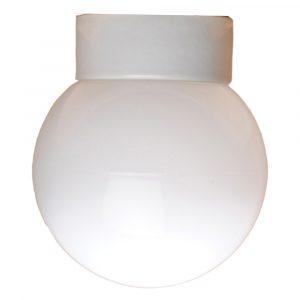 Kuppel med lige sokkel IP54 glaskuppel 150 mm hvid fod hvidt glas