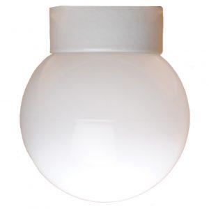Kuppel med lige sokkel IP54 Glaskuppel 180mm Hvid fod hvidt glas