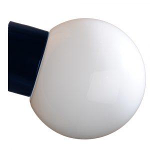Kuppel med skrå sokkel IP54 glaskuppel 180 mm sort fod hvidt glas