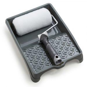 Maxi malerrullesæt med langhåret malerrulle og rullebakke i plast