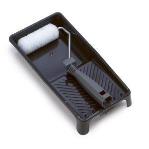 Mini malerrullesæt med langhåret malerrulle og plastbakke