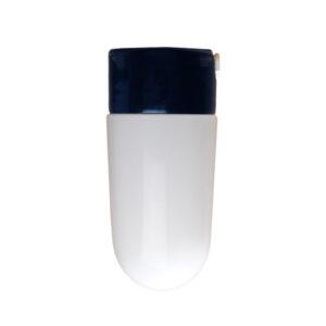 Syltetøjsglas lige sort sokkel hvidt glas