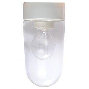 Syltetøjsglas med lige sokkel IP54 hvid fod klart glas