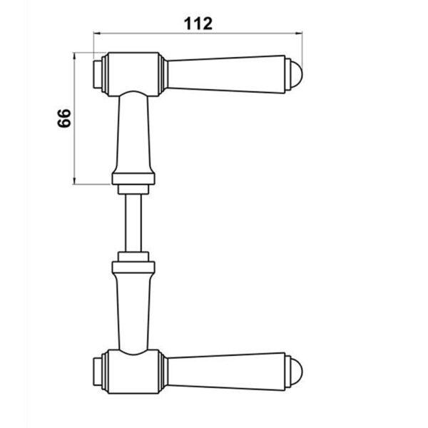 Tegning over målene på Briggs 112mm dørgreb