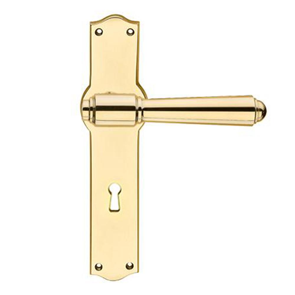 Briggs 127mm dørgreb i messing kombineret med Hauser 42mm langskilt med nøglehul. Til udendørs brug
