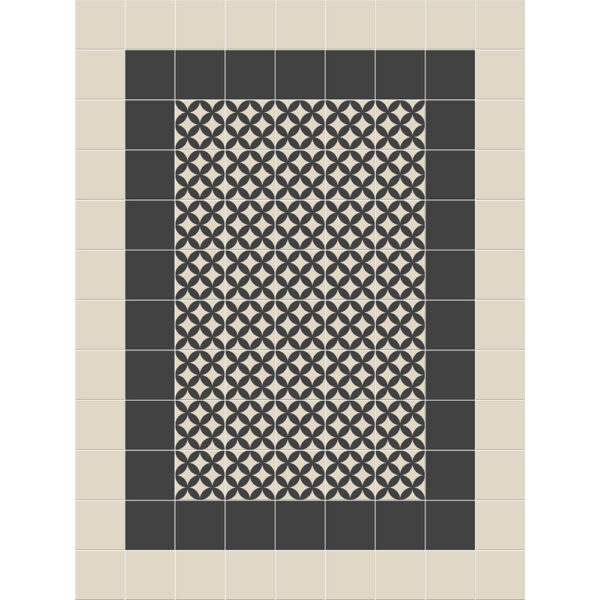 Keramiske fliser lagt som historisk manufaktur i mønstret Alt Hamburg og i farven sort