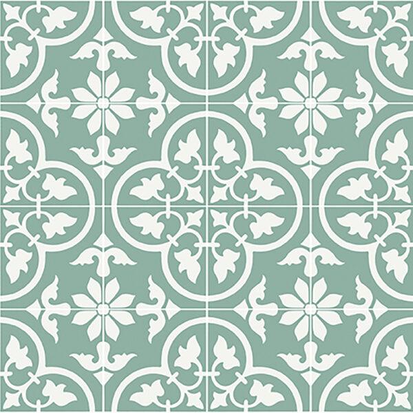 Historiske fliser med italiensk motiv på grøn baggrund og med hvide detaljer