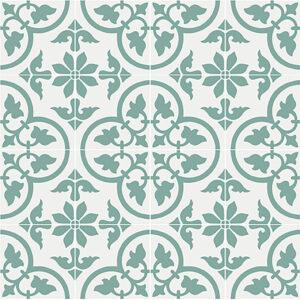 Historiske fliser med italiensk motiv på hvid baggrund og med grønne detaljer