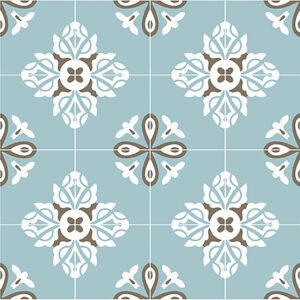 Historisk flise med mønstret Lucca i en blå farve