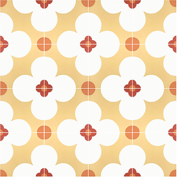 Historiske fliser med et portugisisk motiv i gul og orange