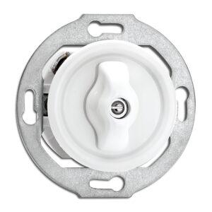 Afbryder med drejeknap, i hvid duroplast til porcelænsserie