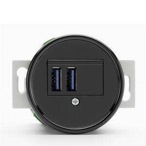Central indsats i bakelit til gammeldags USB-ladestik i bakelit sort