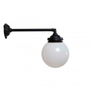 gårdlampe i støbejern med hvid glaskuppel Ø 180 cm længde 39 cm