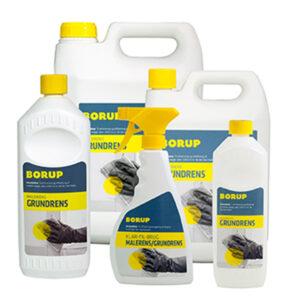 grundrens i spray samt 0,5 liter, 1 liter, 2,5 liter og 5 liter