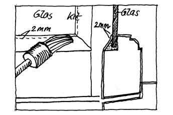 Tegning der beskriver hvordan vinduet skal kittes